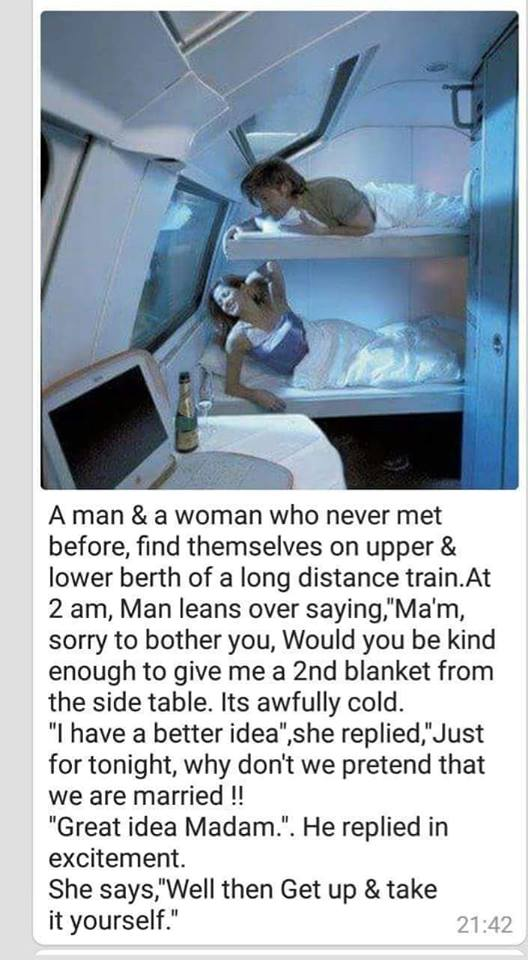 A Man and Woman Travelling in a Train Compartment Funny Joke