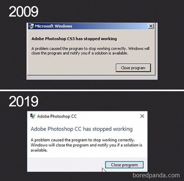 Adobe Updates 10 Year Challenge funny image