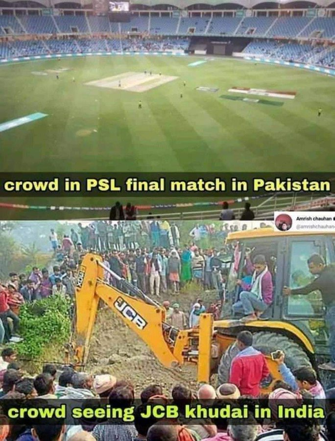 jcb ki khudai meme vs psl final match indian crowd
